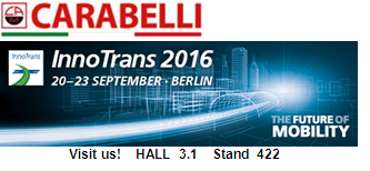 Carabelli Srl invites you to visit us at InnoTrans 2016 - International Trade Fair for Transport Technology
